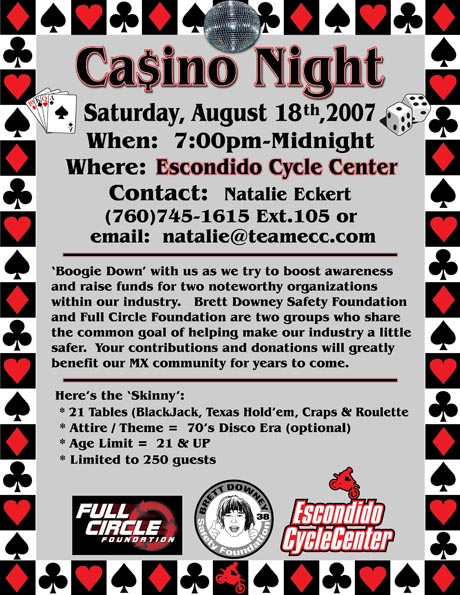 Casino Night, Saturday, August 18, 2007 - Click here to email Natalie Eckert for more information!